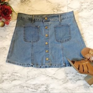 Altar'd State Back To School Blue Jean Mini Skirt